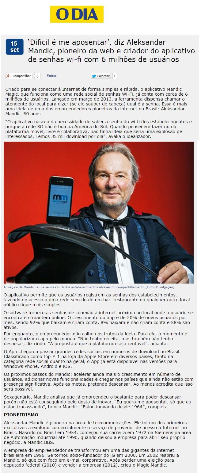 Mandic magiC no Jornal O Dia - RJ 15.09.2014