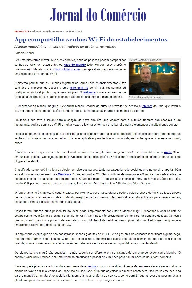 Mandic magiC no Jornal do Comércio (POA) 15.09.2014
