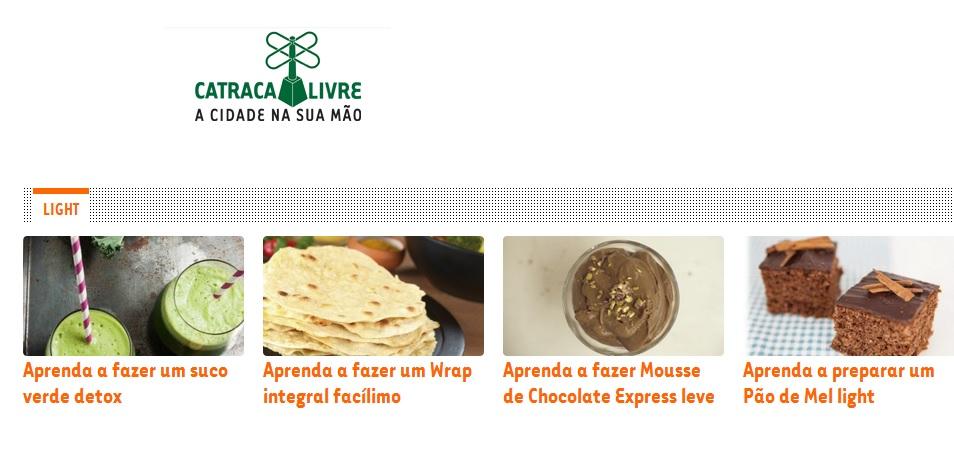 Receita Mimis na home do Catraca Livre 21.08.2014