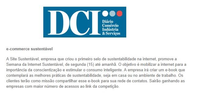Site Sustentável no Jornal DCI online 19.09.2014