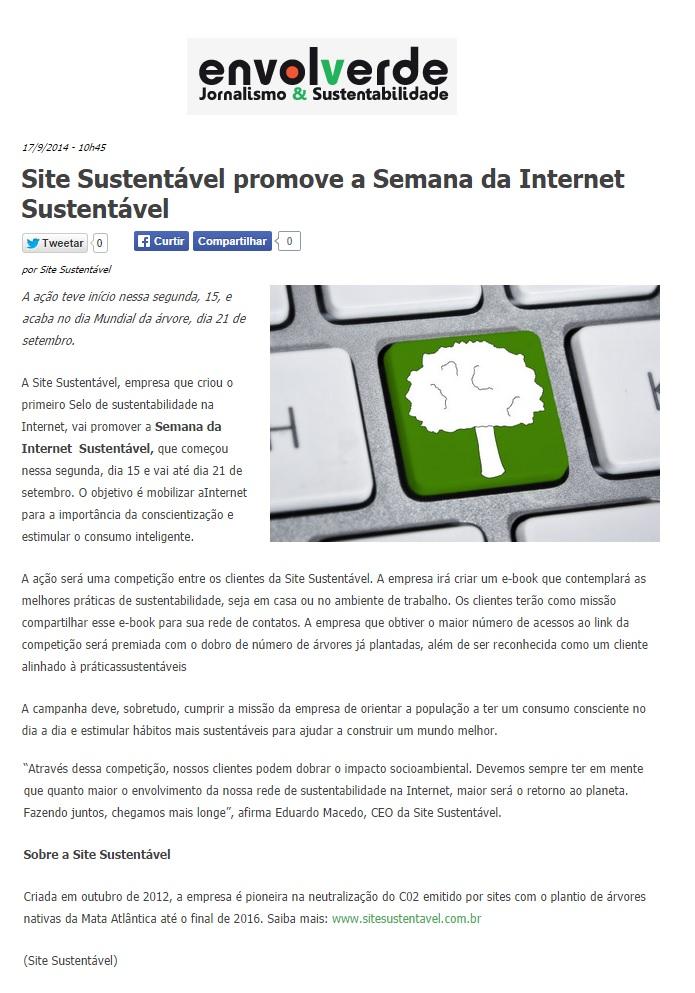 Site Sustentável no Portal Envolverde 17.09.2014