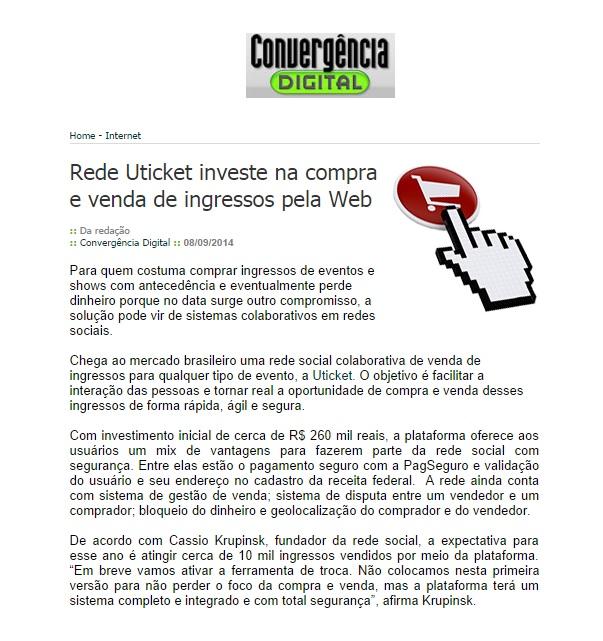 Uticket na Convergência Digital 08.09.2014