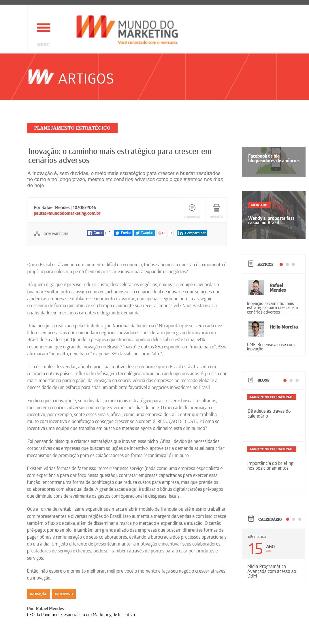 PAYMUNDIE no Portal Mundo do Marketing _ 10.08.2016